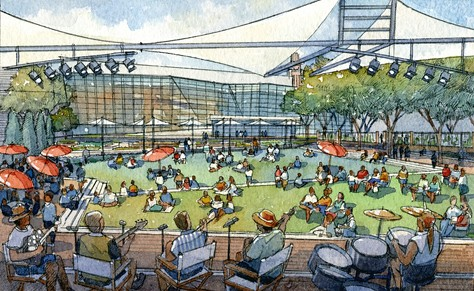 Art Garden, Mississippi Museum of Art, Jackson, supported by Our Town (Rendering by Mike Cherepak from drawings by Ed Blake and Madge Bemiss, courtesy of National Endowment for the Arts)