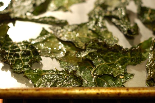 Kale chips with sesame seeds and sea salt in oven by Eve Fox, Garden of Eating blog, copyright 2013