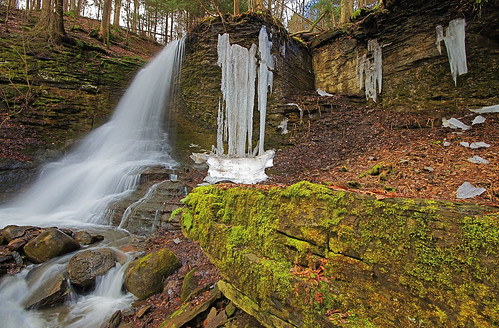 green waterfall moss melting bucktailfalls fullflow spaffordvalley