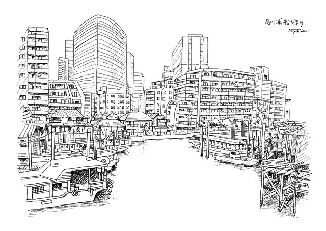 品川浦船だまり(線画)  Shinagawa Waterfront and Boats