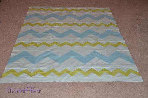 zigzagged quilt top completed