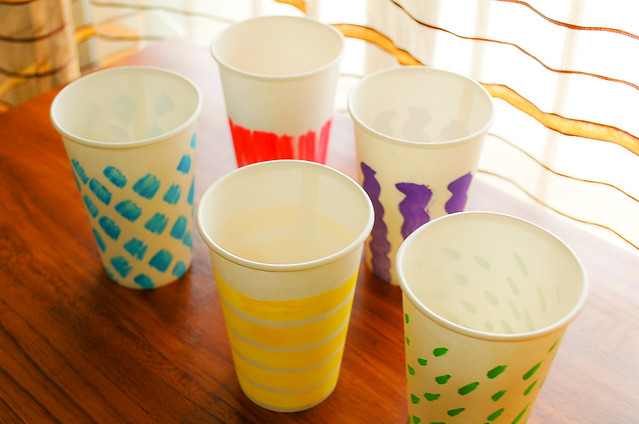 diy handpainted paper cups