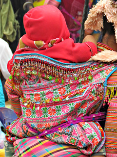 Colorful Hmong baby sling.