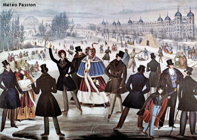 lacs gelés et patineurs au Regent's Park de Londres lors de la vague de froid de janvier 1838 météopassion