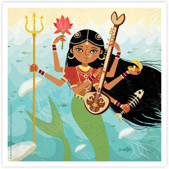 Ragamala Series No.4: 'A Goddess of the Seas' (GREEN)