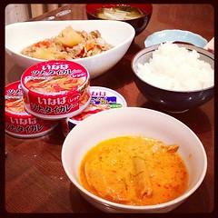 今宵は肉じゃがとお刺身(写ってないけど)と話題のタイカレー缶詰。