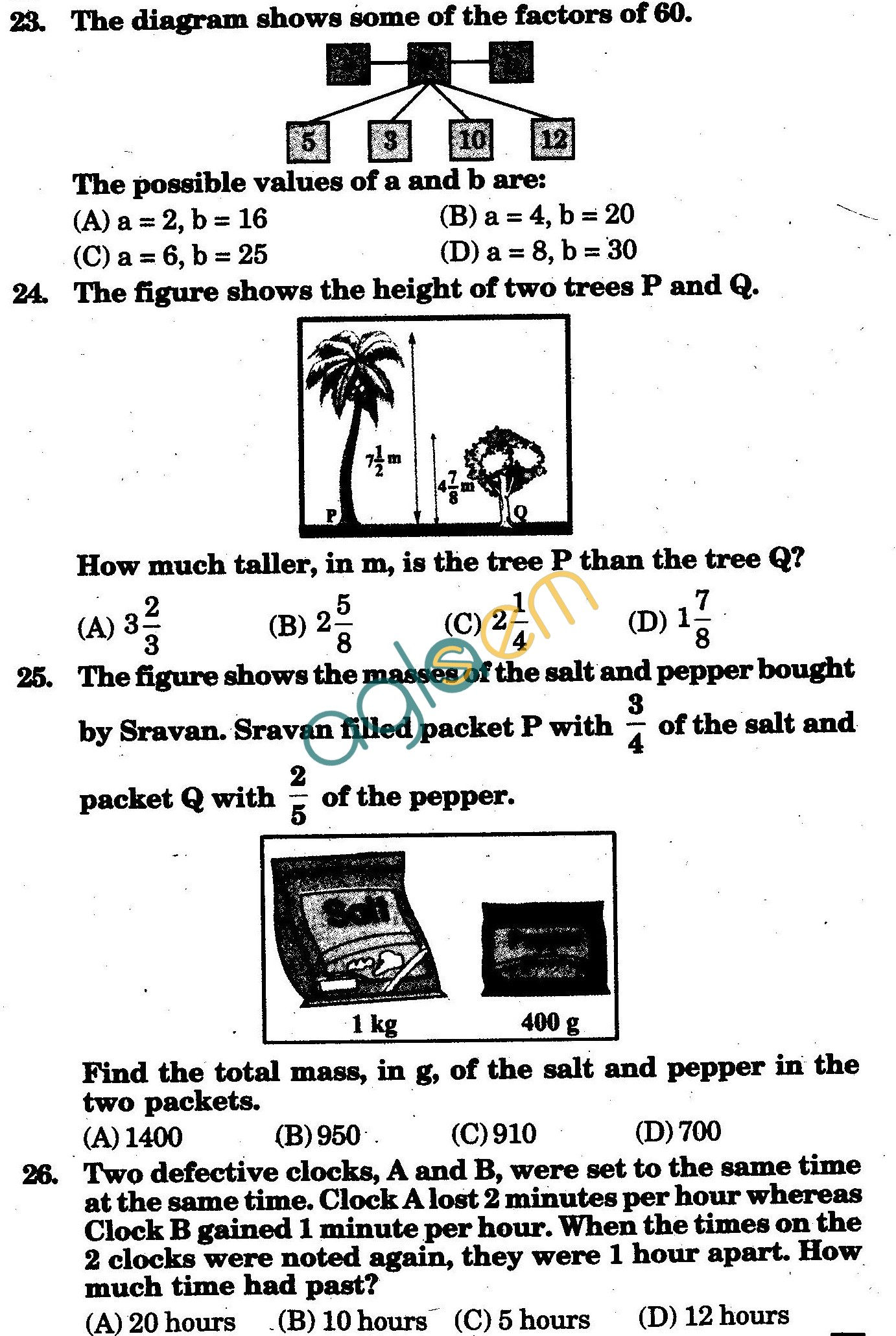 NSTSE 2010 Class V Question Paper with Answers - Mathematics