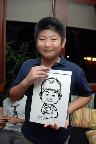 caricature live sketching for Mark Lee's daughter birthday party - 31