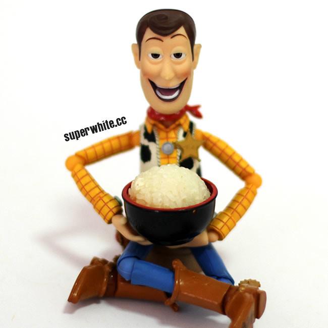 Woody is happy with a bowl of white rice. 有一碗白饭吃对胡迪已经知足了