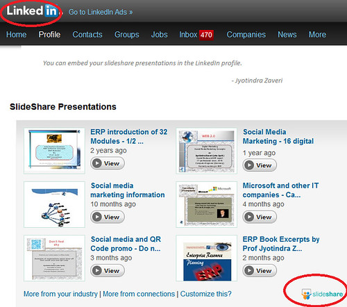 Slideshare in LinkedIn example by Zaveri