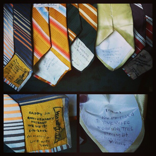 I wrote love notes on the ties Cody wore on special occasions.