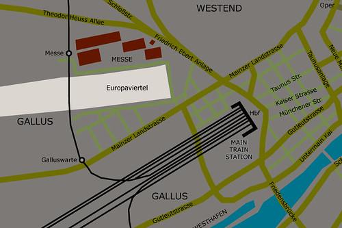 Karte zur Lage des Europaviertels unterhalb der Messe. April 2002