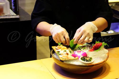 Preparing Sashimi Platter
