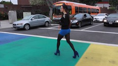 Greta Alvarez in Weho Rainbow Crosswalk