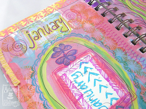 January carved stamp - journal page