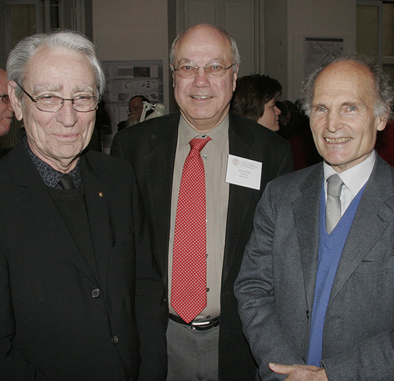 Architecture professor Jerry Wells (center) with two of the Cornell in Rome program founders; William McMinn (left) and Robert Einaudi (left), taken during the program's 20th anniversary celebration. Wells will be leading tours during the 30th celebration in March.