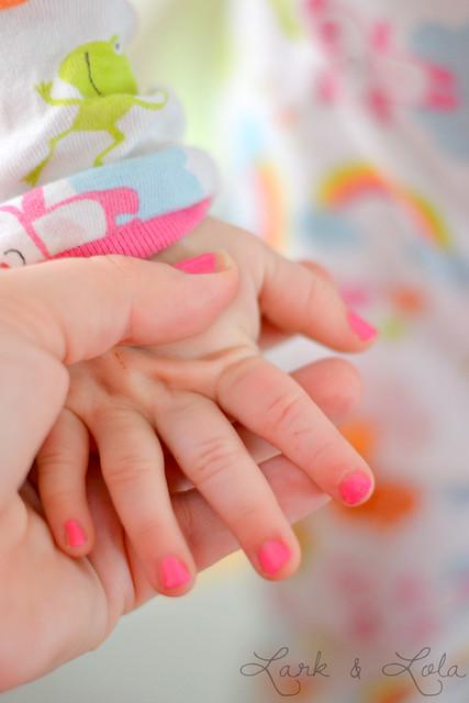 Pink baby nails
