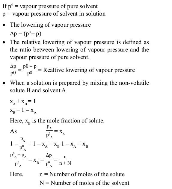 Relative Lowering of Vapour Pressure