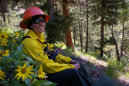 Dr. Terrie Benavidez Jain in wildland firefighting gear doing field work on the Boise Basin Experimental Forest in IdahoDr. Terrie Benavidez Jain in wildland firefighting gear doing field work on the Boise Basin Experimental Forest in Idaho
