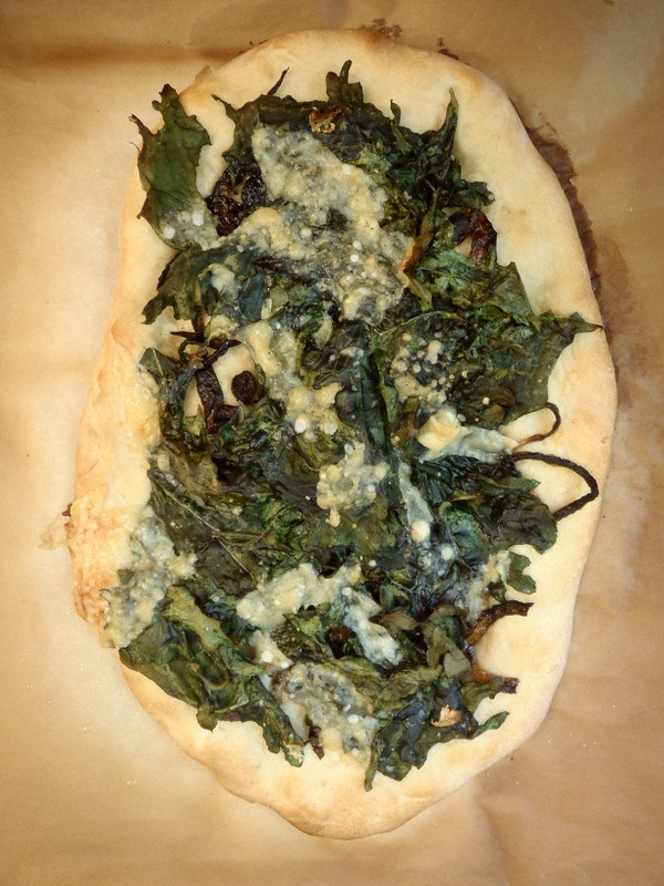 Crispy Kale and Onion Pizza
