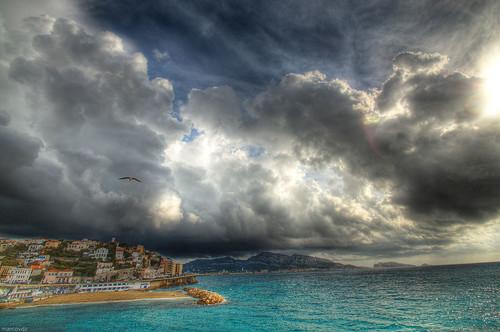 sea mer seascape storm france beach clouds marseille view provence nuages paysage hdr orage 3xp roucasblanc plageduprophète cornichejfkennedy
