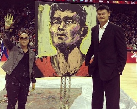 October 14th, 2012 - Yao Ming is awarded a portrait of himself at halftime of the Clippers-Heat game in Shanghai