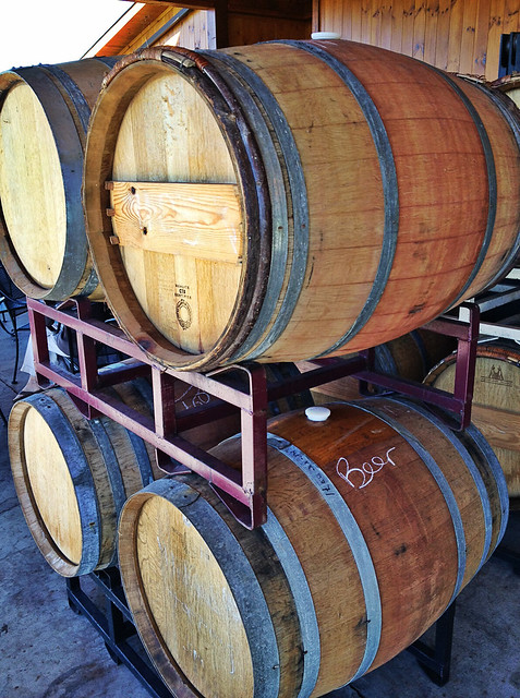 The barrels at Round Peak Vineyards.