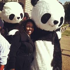 Kim with pandas