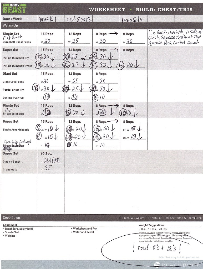 Team Beachbody RE HUGE BEAST Dedicated Republic Open to All – P90x Chest and Back Worksheet