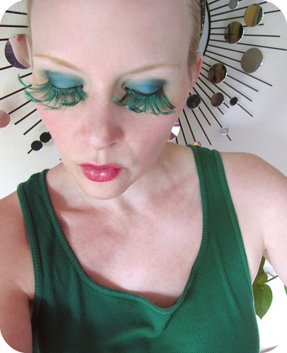 teal feathered eyelashes