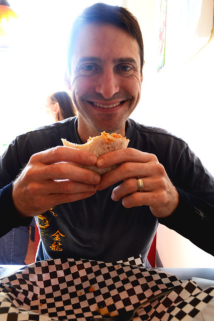 Mike Enjoying a Carnita Burrito