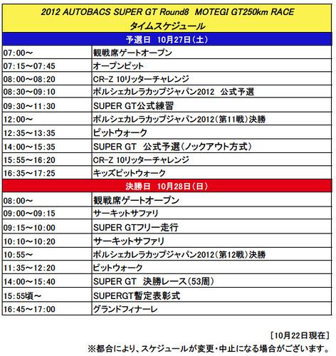 2012 SUPERGT第8戦もてぎ タイムスケジュール(暫定)
