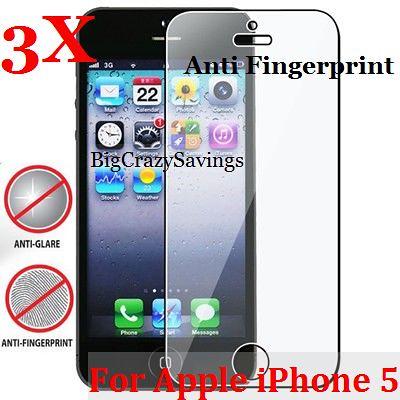 Lot of 3 Anti Glare Anti Fingerprint Screen Protector for Apple iPhone