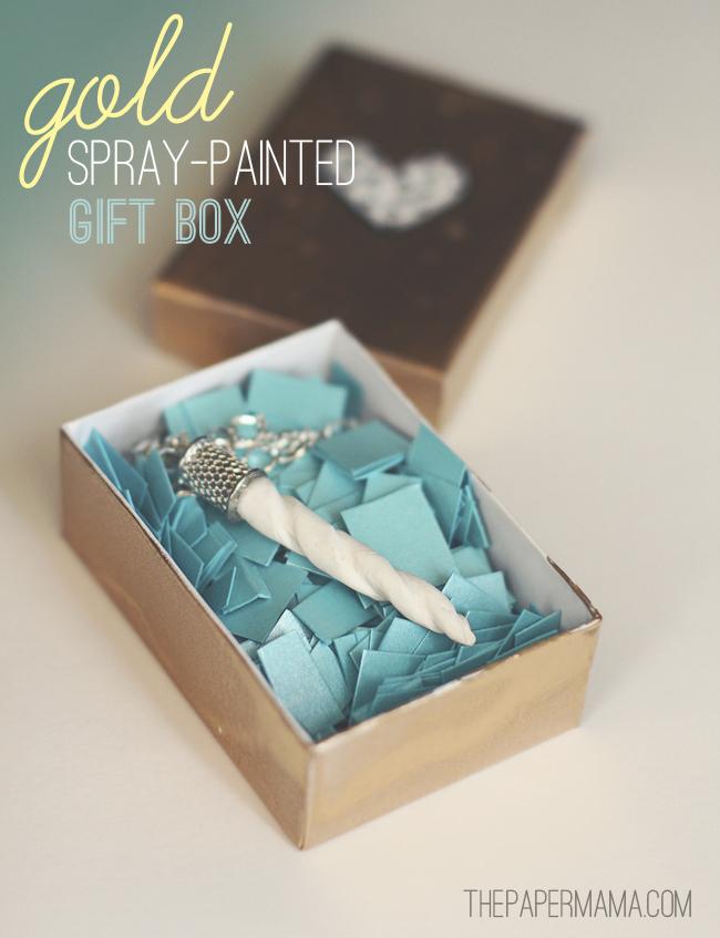 Spray Painted Gold Gift Box DIY