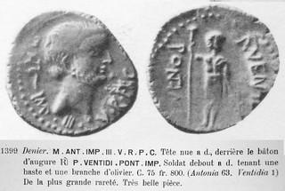 531/1 Ventidius and Mark Antony denarius, very rare type. Bonazzi sale R.Ratto Jan 1924