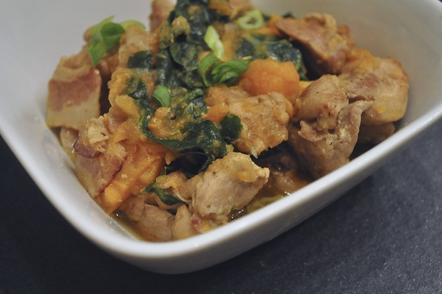 Chicken Tagine with Sweet Potatoes, Bacon and Collard Greens