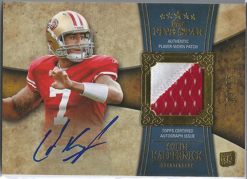 2011 Topps Five Star Rookie Autographed Patch Gold #181 Colin Kaepernick (3 of 55)