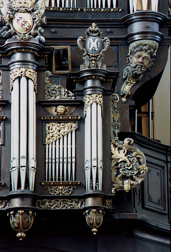Sarre-Union, Alsace, Église Saint-Georges, organ, detail