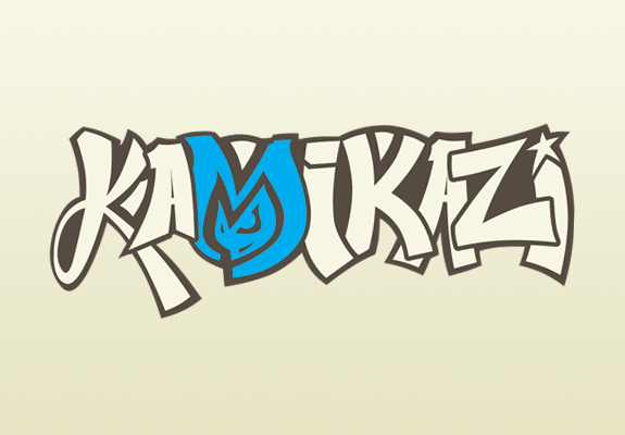 Branding and identity logo in graffiti style using cyan beige blue brown as the colors for Kamikazi Dance Team UNC