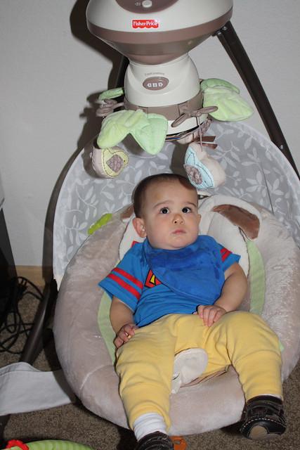 Vinny 15months in his infant swing