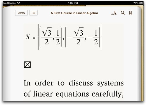 MathML in iBooks3 in iOS6 (big!)