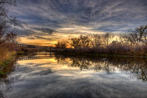 bridge trees sunset sky reflection water clouds river landscape colorado footbridge denver platte hdr facebook littleton d800 southplatteriver bridgepix 201211