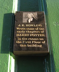 Photo of J. K. Rowling black plaque