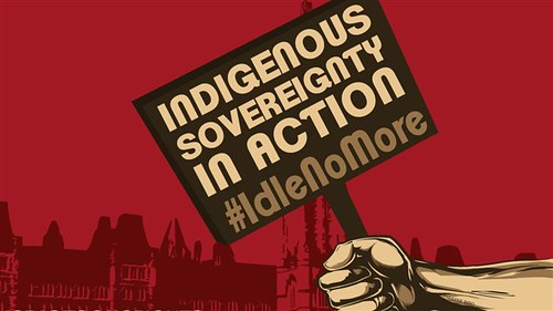 "Against a red backdrop, a hand holds a protest sign reading ""Idle No More"""