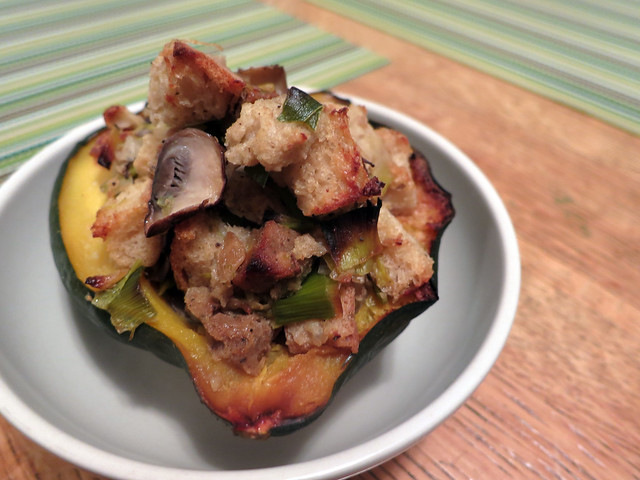 acorn squash with mushroom, leek and sausage stuffing