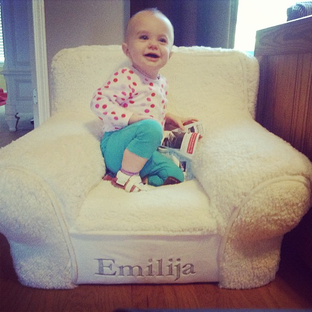 Loving her chair. #sherpa #potterybarnkids #toocute