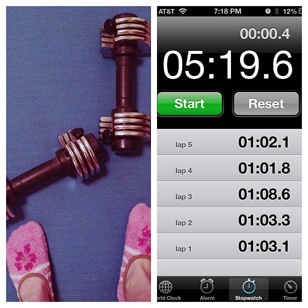 3 sets of biceps, shoulders, and triceps + 5 elbow planks. I'd rather be running but this will do for today...