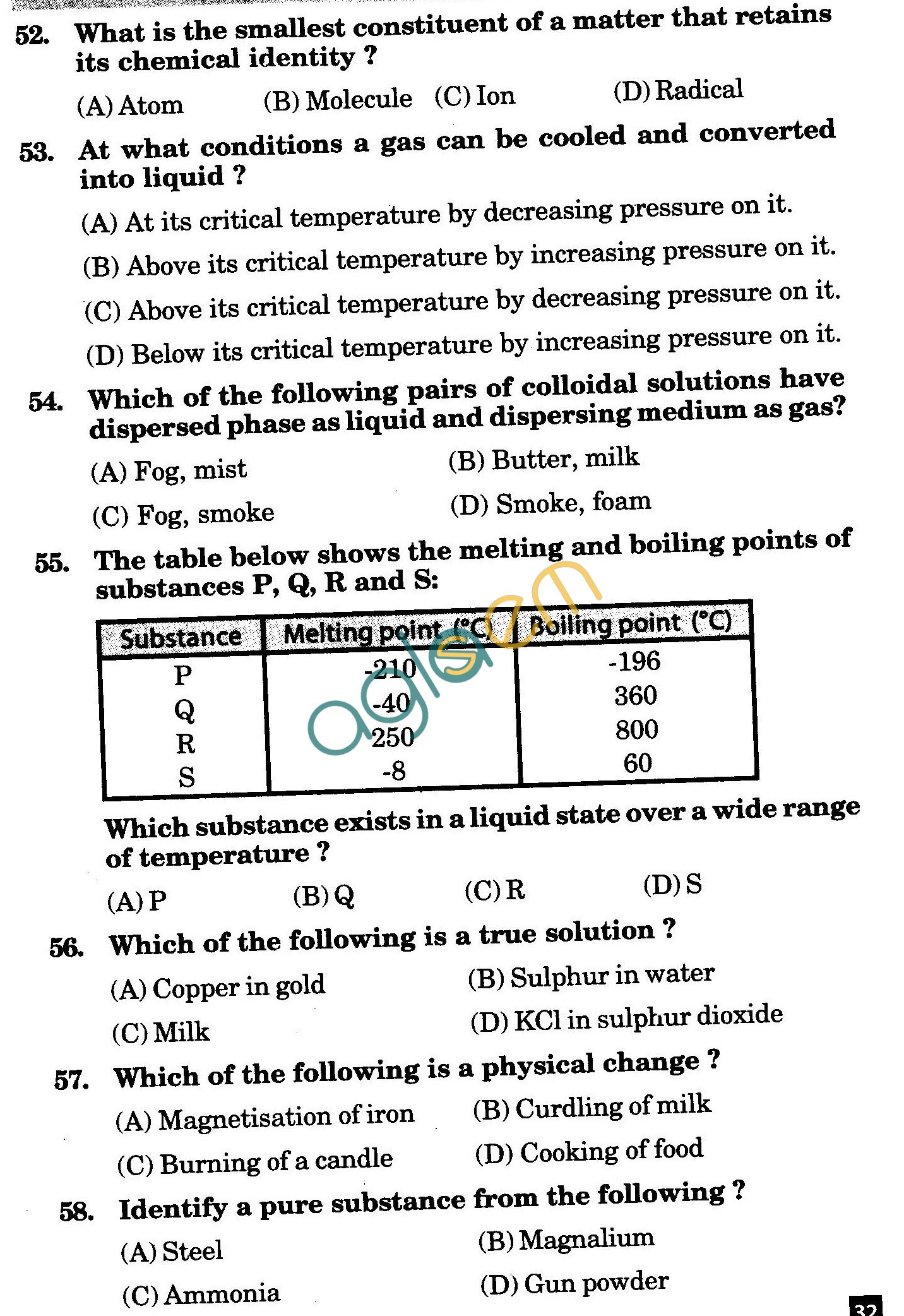NSTSE 2010: Class IX Question Paper with Answers - Chemistry