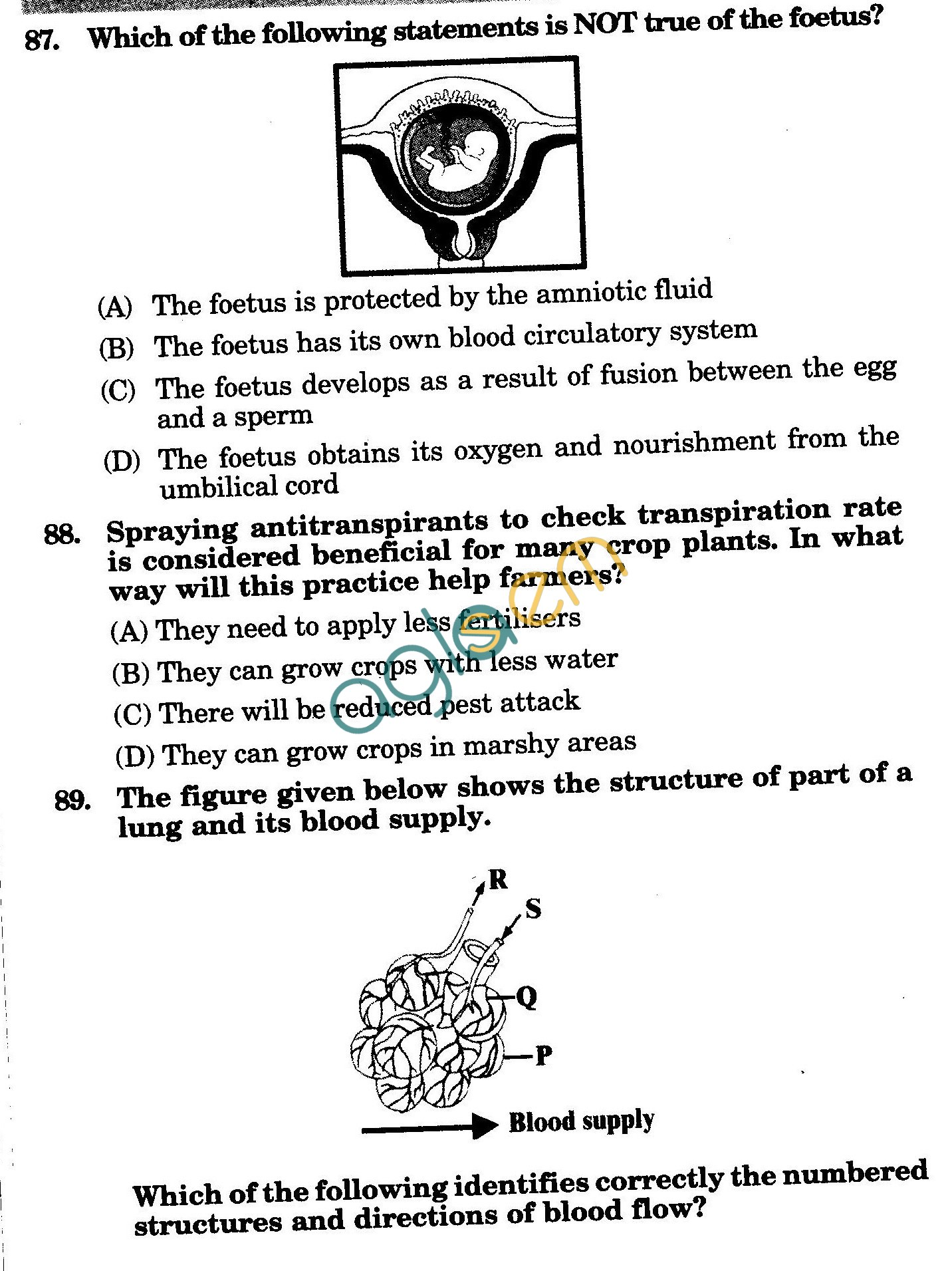 NSTSE 2010: Class X Question Paper with Answers - Biology