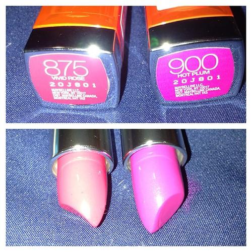 New lipsticks #maybelline #vivid #newgoodies #newlipsticks #colorsensational #vividrose #hotplum #nofilter #instahaul #instadaily #makeupjunkie #bblogger #beautyblogger #beautyvlogger #beautyjunkie #youtuber #mizzshake #haul